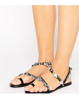 Finland Wide Fit Leather Coin Flat Sandals