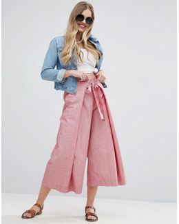 Tie Front Wide Leg Shirting Pants With Splits