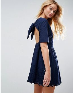 Broderie Smock Dress With Open Back Detail