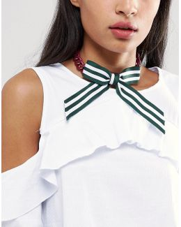 Stripe Bow Choker Necklace