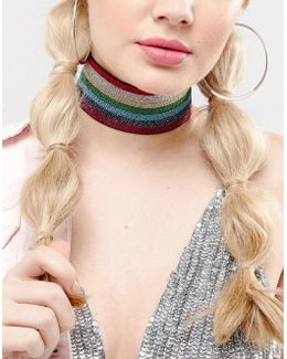 Rainbow Glitter Choker Necklace