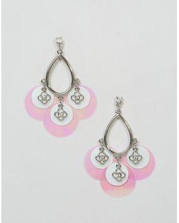 Sequin Flower Drop Earrings