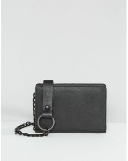 Leather Wallet In Black With Chain