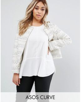 Boucle Jacket With Fringe Detail