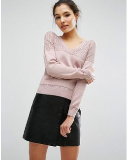 Sweater In Pointelle Stitch With V Neck