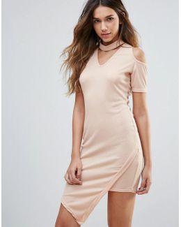 Cold Shoulder Dress With Choker Neckline