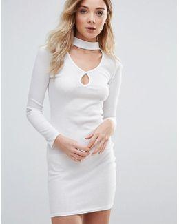 Keyhole Bodycon Dress With Choker Neckline