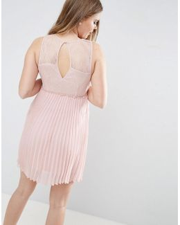 Pleated Dress With Cut Out Back