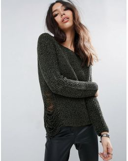 Chunky Sweater With Ladder Detail