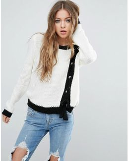 Sweater With Lace Up Front