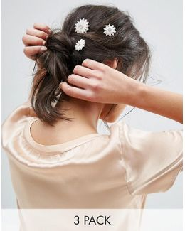Pack Of 3 Faux Pearl Flower Hair Grips