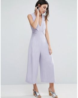 Jumpsuit With Origami Detail And Culotte Leg