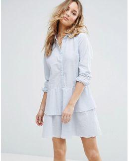 Peplum Ruffle Shirt Dress