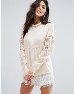 Lace Detail Smock Blouse
