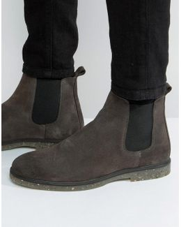 Chelsea Boots In Gray Suede With Speckle Sole