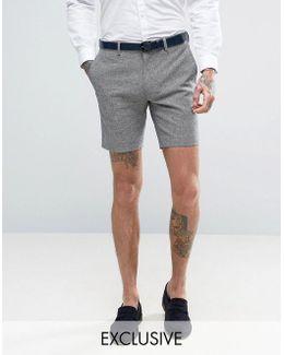 Skinny Wedding Smart Shorts In Summer Dogstooth