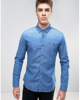 Indigo Stretch Denim Shirt In Regular Fit In Mid Wash