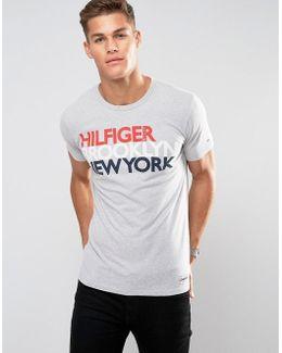 Tommy Logo T-shirt Reflective Brooklyn Print In Grey Marl