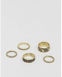 Ring Pack In Burnished Gold With Embossed Design