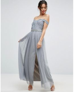 Pleated Maxi Dress With Bardot Sleeves And Embellished Waist