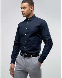 Stretch Slim Shirt In Navy