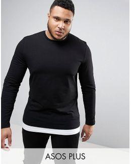 Plus Longline Muscle Long Sleeve T-shirt With Contrast Hem