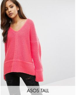 Chunky Sweater In Fluffy Yarn With V Neck