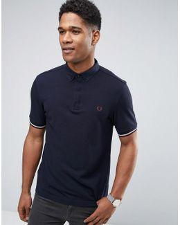 Slim Pique Polo Shirt Woven Buttondown Collar In Navy