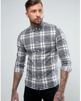 Slim Twill Check Shirt Buttondown In White
