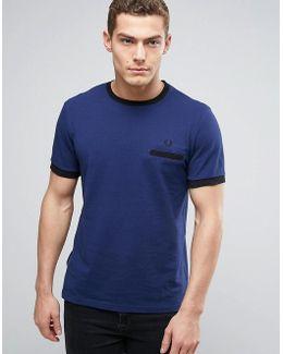 Pique Pocket T-shirt Contrast Trims In Navy