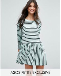 Smock Dress In Ponte Stripe
