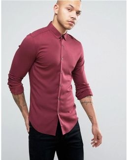 Super Skinny Viscose Shirt In Burgundy