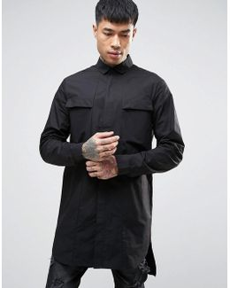 Regular Fit Super Longline Shirt In Black