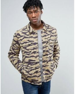 Military Coach Jacket In Camo Print