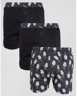 Jersey Boxers With Ice Cream Print 3 Pack Save