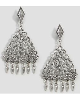Filigree Triangle Drop Earrings