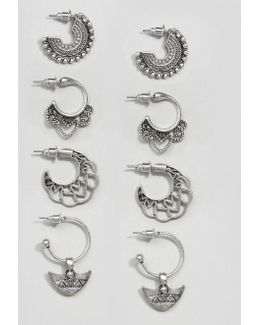 Pack Of 4 Festival Hoop Earrings