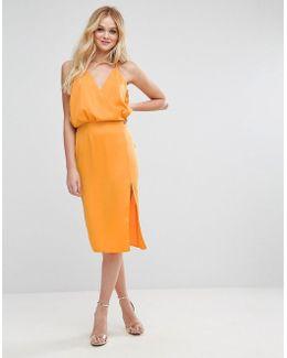 Wrap Front Cami Midi Dress With Thigh Splits