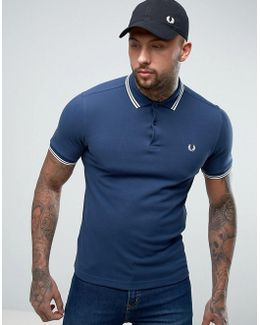 Slim Pique Polo Shirt Twin Tipped In Service Blue