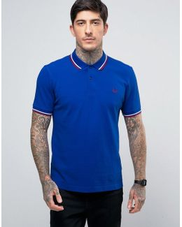 Slim Pique Polo Shirt Twin Tipped In Regal Blue