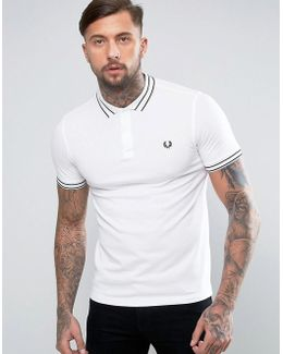 Slim Pique Polo Tramline Tipped In White