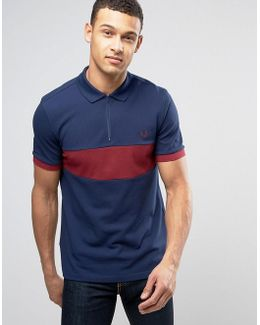Slim Pique Polo Chest Panel Zip Detail In Navy