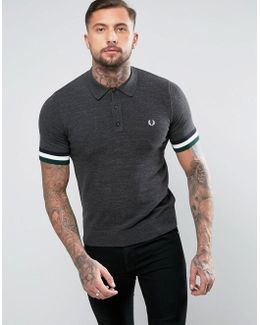 Slim Knitted Polo Stripe Cuff In Charcoal Marl