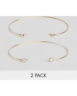 Pack Of 2 Fine Open Cuff Bracelets