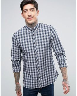 Summer Plaid Long Sleeve Shirt In Navy
