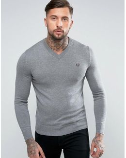 V-neck Cotton Sweater In Gray