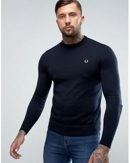Crew Neck Cotton Sweater In Navy