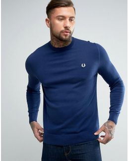Crew Neck Cotton Sweater In Blue