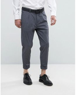 Tapered Cropped Smart Pants With Stretch