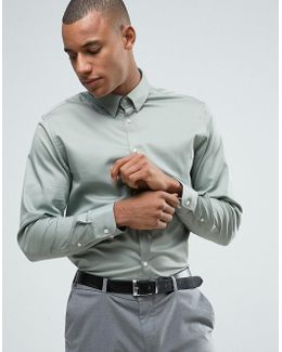Slim Shirt With Concealed Button Down Collar